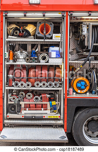 Equipment of a Fire Engine - csp18187489