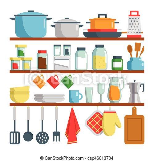 Cuisine Illustration equipments, cuisine, illustration, étagère. vecteur, plat, ensemble