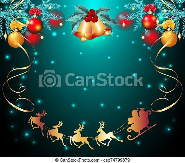 equipo, campanas, vuelo, trineo, reno, cielo, claus, estrellado, navidad, picea, santa, pelotas, tarjeta, dorado - csp74799879