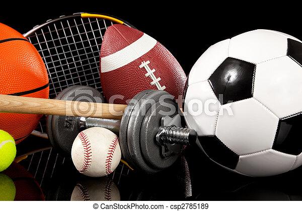 Equipos deportivos variados en negro - csp2785189