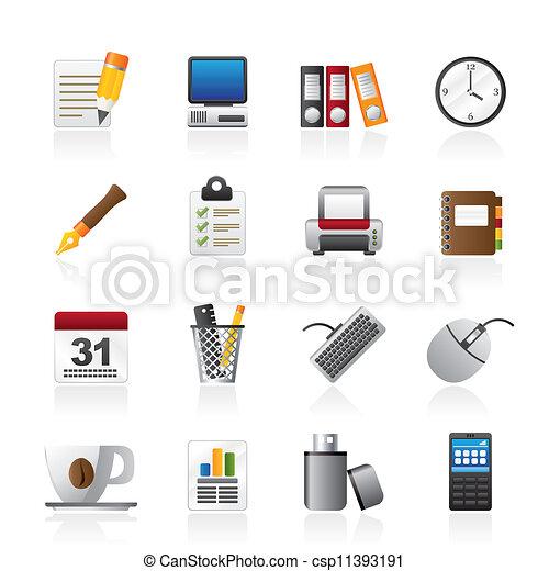 Iconos de negocios y equipo de oficina - csp11393191