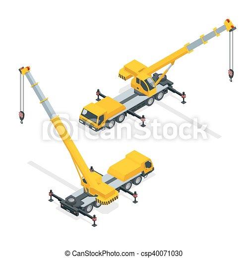 Una grúa isométrica, equipo pesado y maquinaria - csp40071030