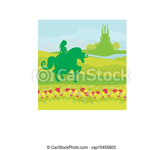Princesa montando un caballo en el castillo - csp15455603