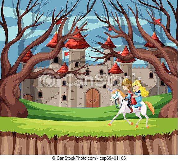 Príncipe y princesa a caballo - csp69401106