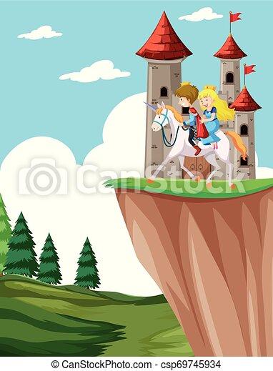 Príncipe y princesa a caballo - csp69745934