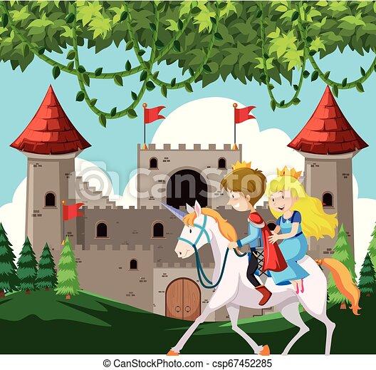 Príncipe y princesa montando un caballo - csp67452285