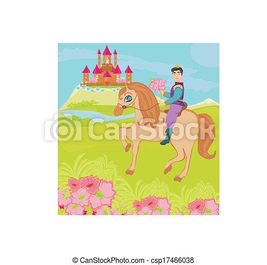 Príncipe montando un caballo a la princesa - csp17466038