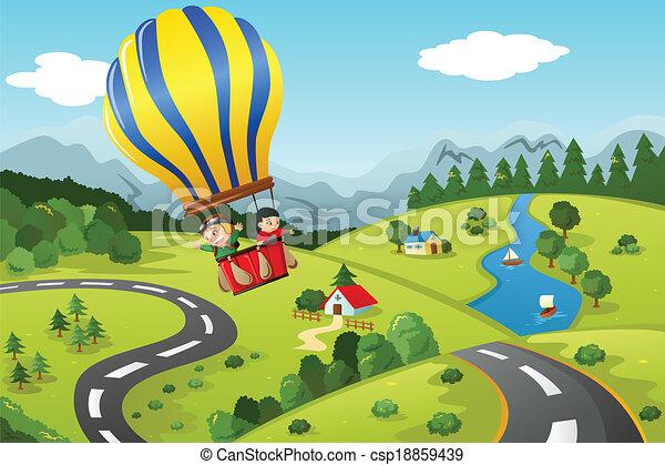 equitación, caliente, niños, globo, aire - csp18859439