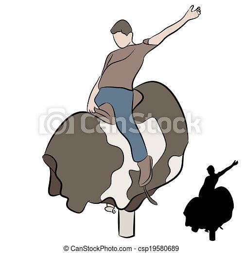 Hombre montando toro mecánico - csp19580689