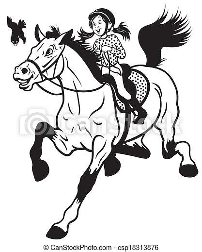 Una chica de dibujos animados montando a caballo - csp18313876