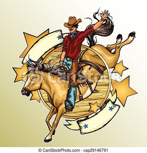 Un vaquero de rodeo montando un caballo - csp29146791