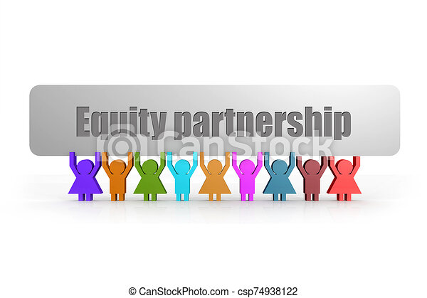 Equity partnership word on a banner hold by group of puppets - csp74938122