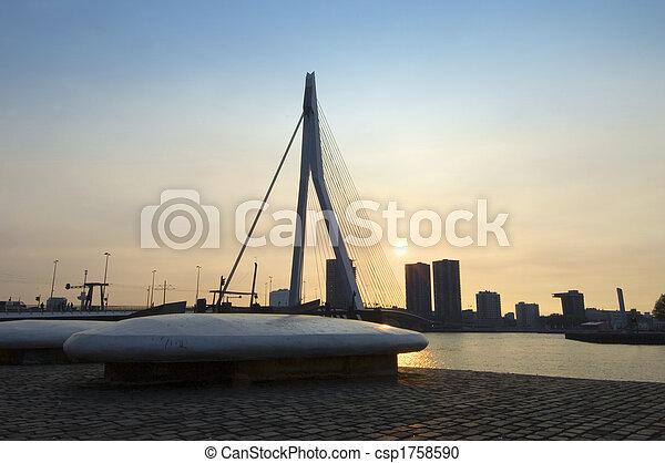 Erasmus bridge at sunset - csp1758590