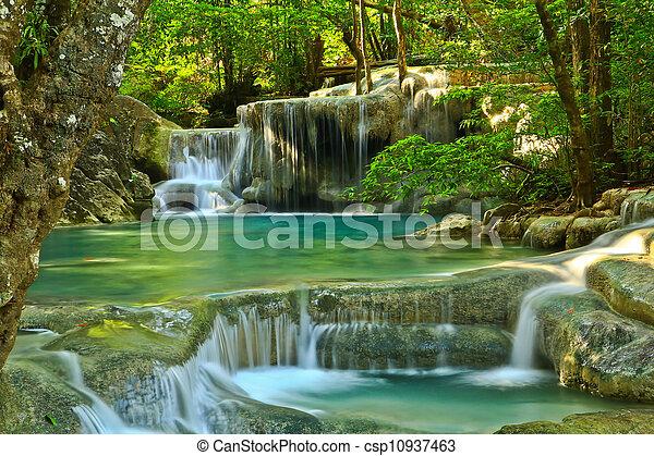 Erawan Waterfall in Kanchanaburi, Thailand - csp10937463