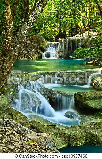 Erawan Waterfall in Kanchanaburi, Thailand - csp10937466