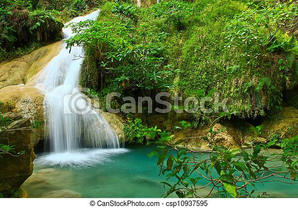 Erawan Waterfall in Kanchanaburi, Thailand - csp10937595