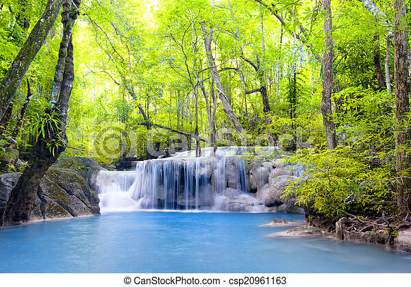 Erawan waterfall in Thailand. Beautiful nature background - csp20961163