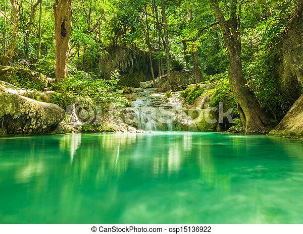 Erawan waterfall. - csp15136922