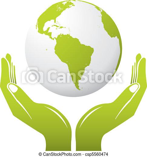 Globe mit Händen - csp5560474