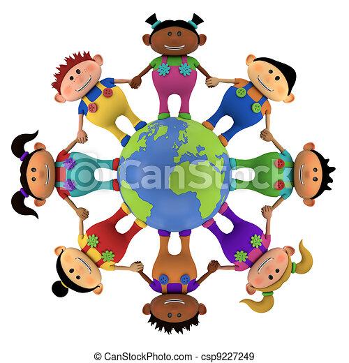 erdball, kinder, multiethnic, ungefähr - csp9227249