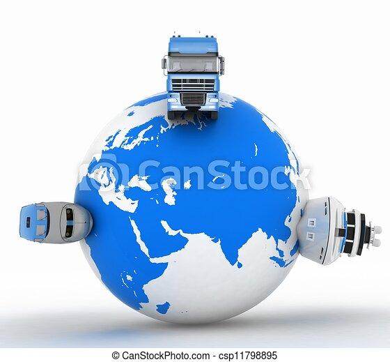 Transporttypen auf einem Globus - csp11798895