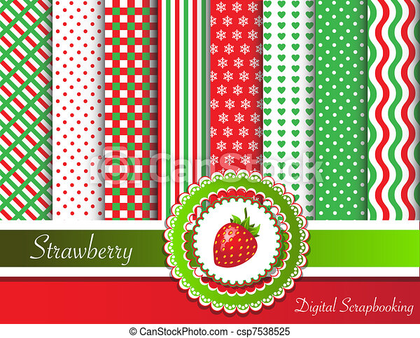 erdbeer, scrapbooking, digital - csp7538525