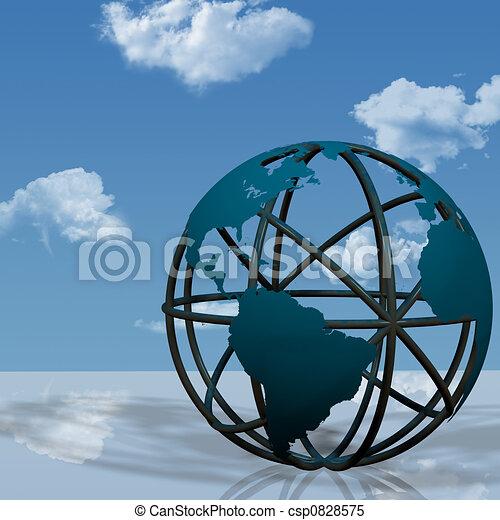 erdeglobus, skulptur, virtuell - csp0828575