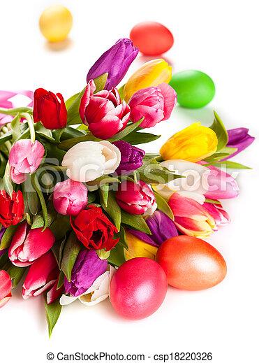 eredet, ikra, húsvét, tulipánok - csp18220326