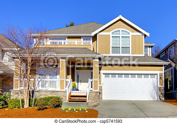 eredet, parkosít., meleg, nyersgyapjúszínű bezs, épület - csp5741593
