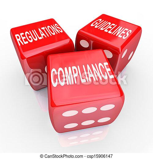 erfüllung, spielwürfel, richtlinien, drei, regelungen, wörter - csp15906147