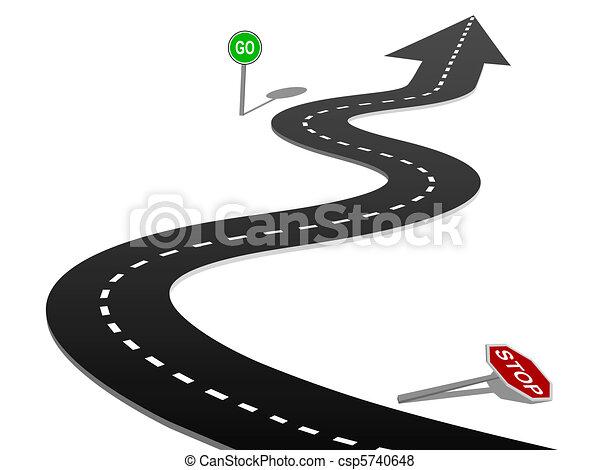 erfolg, kurve, stopschild, gehen, fortschritt, landstraße - csp5740648