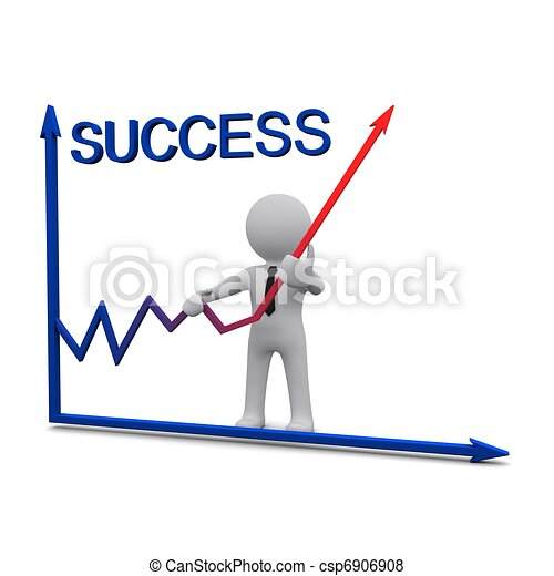 3D Mann und Erfolgsgraph mit roten Pfeil - csp6906908