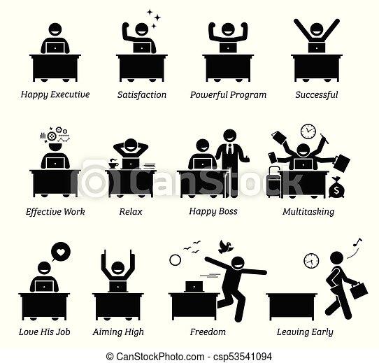 erfolgreich, glücklich, arbeits büro, wirksam, zufrieden, geschäftsführung, arbeiter, workplace., works., genießen - csp53541094