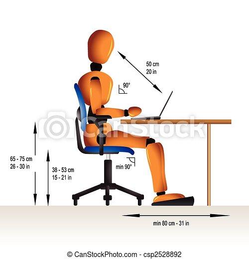 ergonomic, sentando - csp2528892