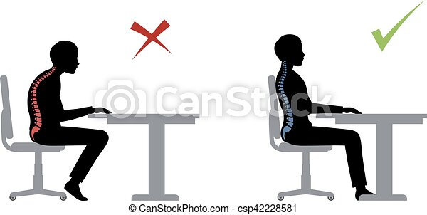 ergonomic. Wrong and correct sitting pose - csp42228581