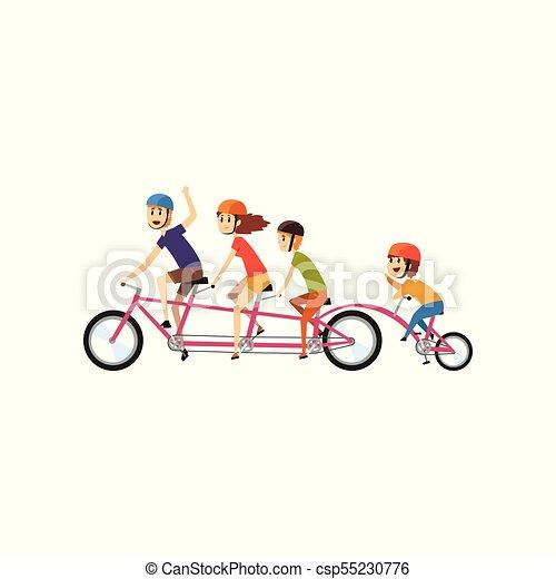 Eltern reiten mit ihren drei kindern auf tandemfahrrad