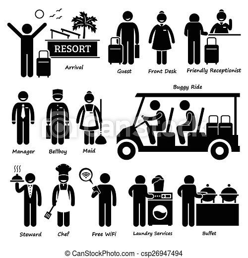 erholungsort- hotel, arbeiter, landhaus, tourist - csp26947494