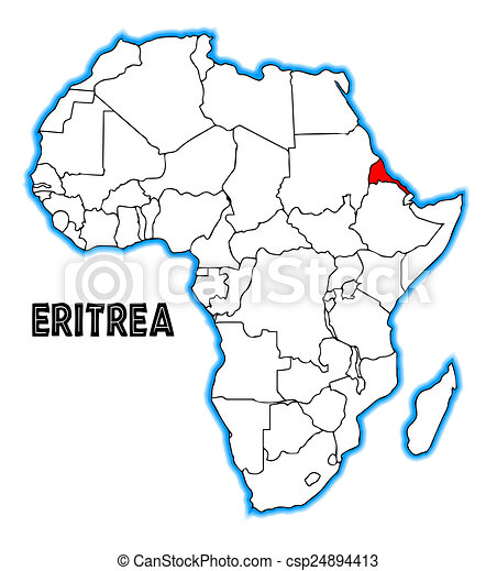 Eritrea Outline Inset Into A Map Of Africa Over A White Background