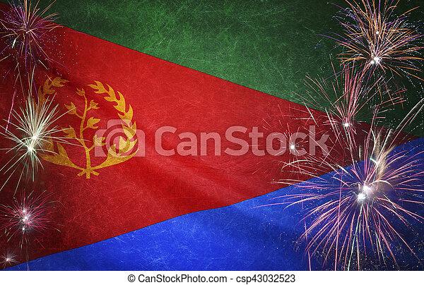 Eritrea Flag Firework Grunge Concept real fabric - csp43032523