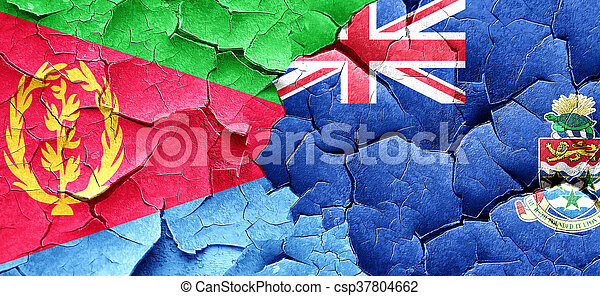 Eritrea flag with Cayman islands flag on a grunge cracked wall - csp37804662