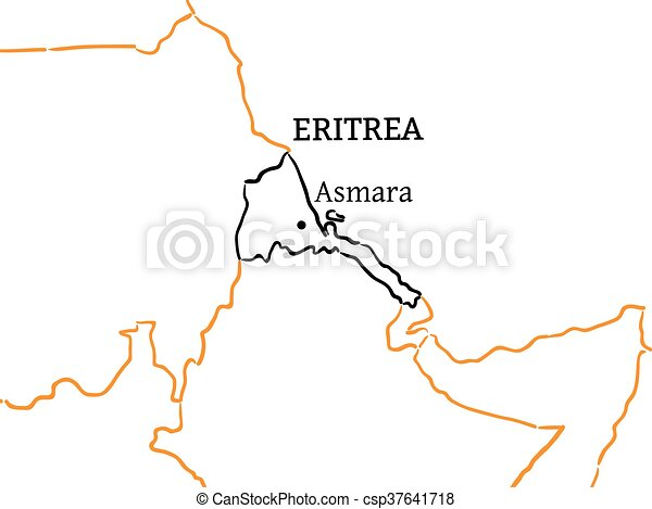 Eritrea Hand Drawn Skiss Karta Eritrea Skiss Karta Land