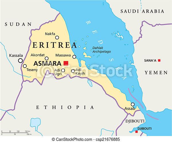 Cartina Eritrea.Eritrea Politico Mappa Eritrea Scaling Mappa Capitale Nazionale Politico Illustrazione Fiumi Lakes La Maggior Canstock