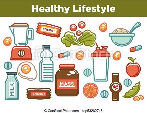 Ernahrung Lebensmittel Plakat Diat Sport Gesunde Icons