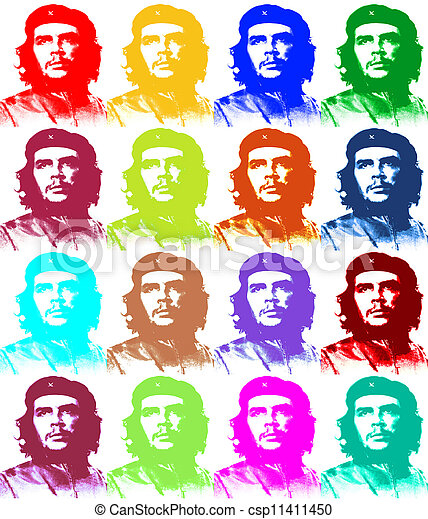 Ernesto Che Guevara paper illustration like a Andy Warhol 4 x 4 - csp11411450