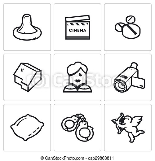 Erotic movies icons set. Vector Illustration. - csp29863811