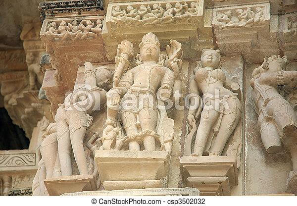 erotico, scena, khajuraho, tempio, shiva, indù - csp3502032