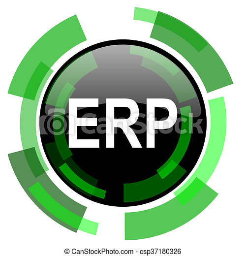 erp icon green modern design isolated button web and mobile app