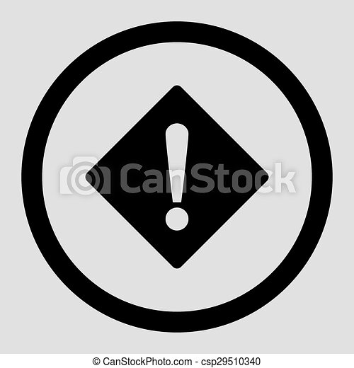 Error flat black color rounded vector icon - csp29510340