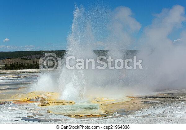 erupting geyser in Yellowstone - csp21964338