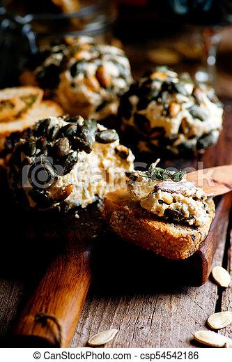 erva, ball., seletivo, queijo, abóbora, foco - csp54542186